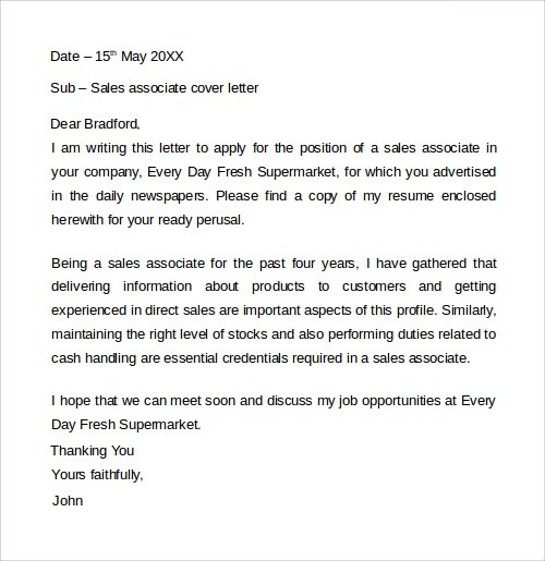 Sample Cover Letter Template - 19+ Download Free Documents In - sample cover letter for sales job