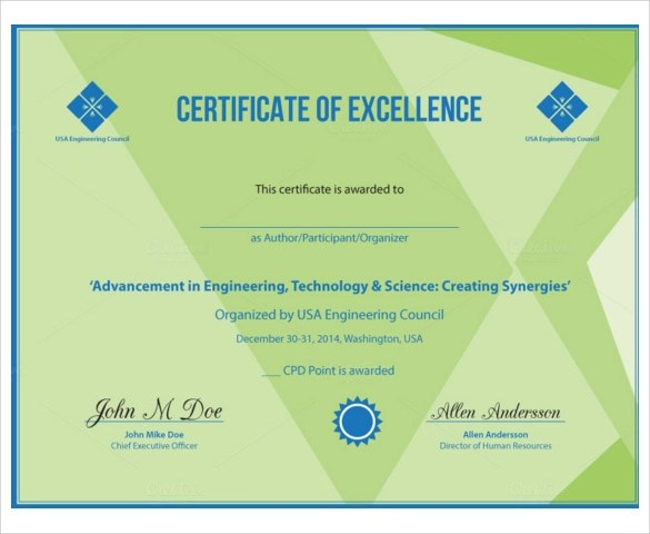 certificate of excellence wording – Certificate of Excellence Template Word