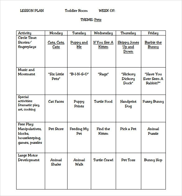 Sample Elementary Lesson Plan Template Printable Lesson Plan - preschool lesson plan template