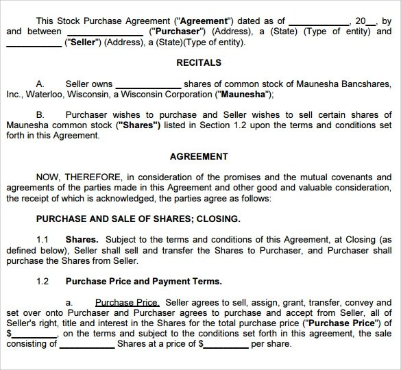 Sample Stock Purchase Agreement Template - 10+ Free Documents In - sample stock purchase agreement example