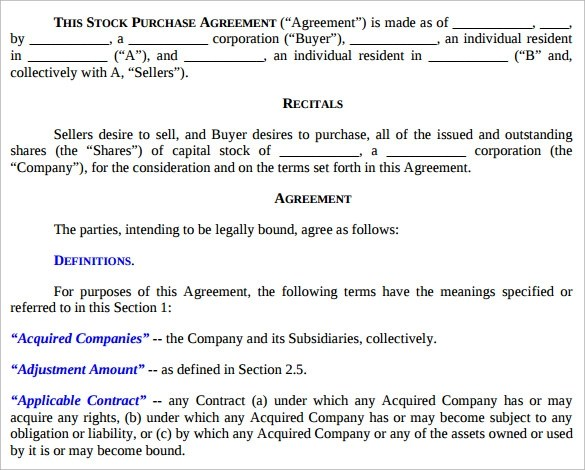11 Stock Purchase Agreement Templates to Download Sample Templates