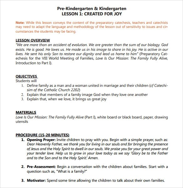 Sample Toddler Lesson Plan - 9+ Example, Format