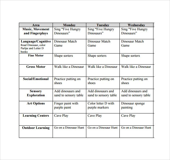 9+ Toddler Lesson Plan Samples Sample Templates