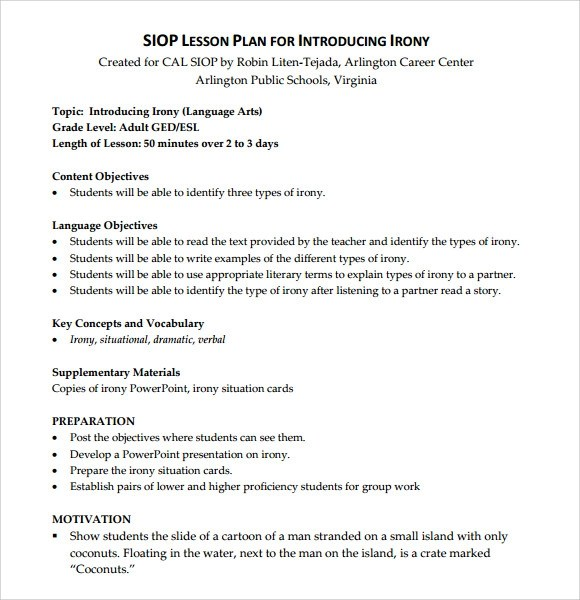 9+ SIOP Lesson Plan Templates Sample Templates - Siop Lesson Plan Templat