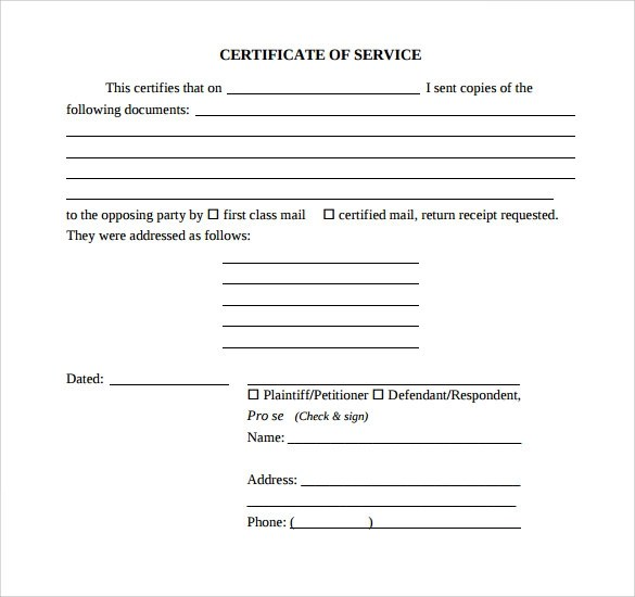 17+ Certificate of Service Templates Sample Templates - Example Of Certificate Of Service