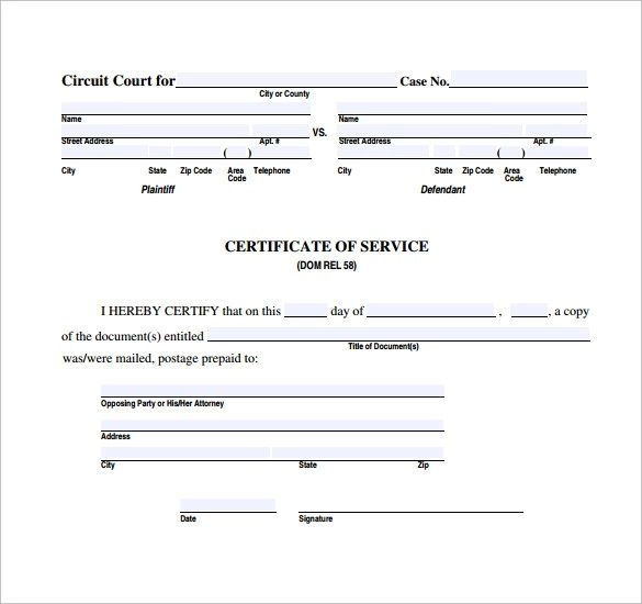 sample of certificate of service for an employee