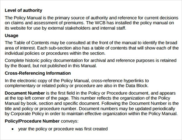 Sample Policy Manual Template Sample Policies And Procedures Manual
