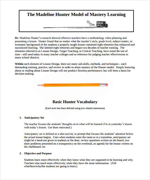 12+ Sample Madeline Hunter Lesson Plans Sample Templates - sample madeline hunter lesson plan template