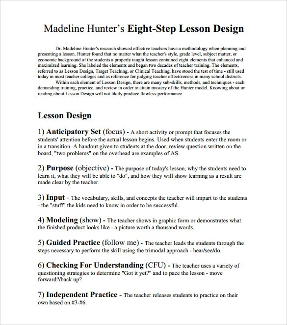 7 step lesson plans - Ozilalmanoof - sample madeline hunter lesson plan template