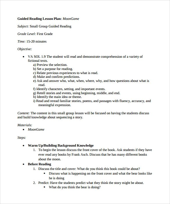 10+ Sample Guided Reading Lesson Plans Sample Templates - sample guided reading lesson plan template