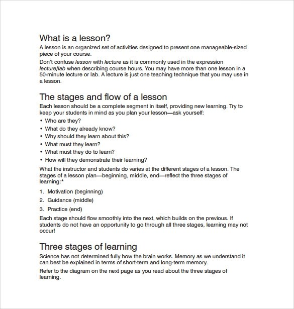 9+ Sample Printable Lesson Plans Sample Templates