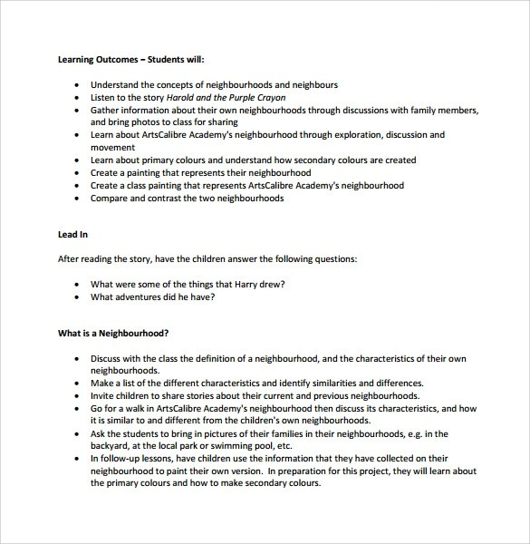 Sample Kindergarten Lesson Plan - 10+ Documents In PDF, Word