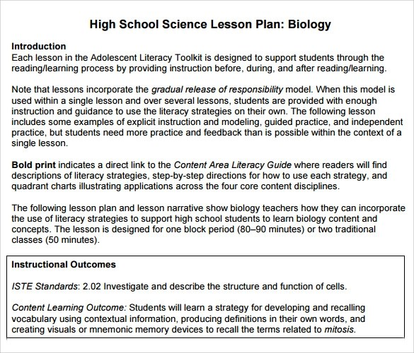 9+ Sample High School Lesson Plans Sample Templates - lesson plan words
