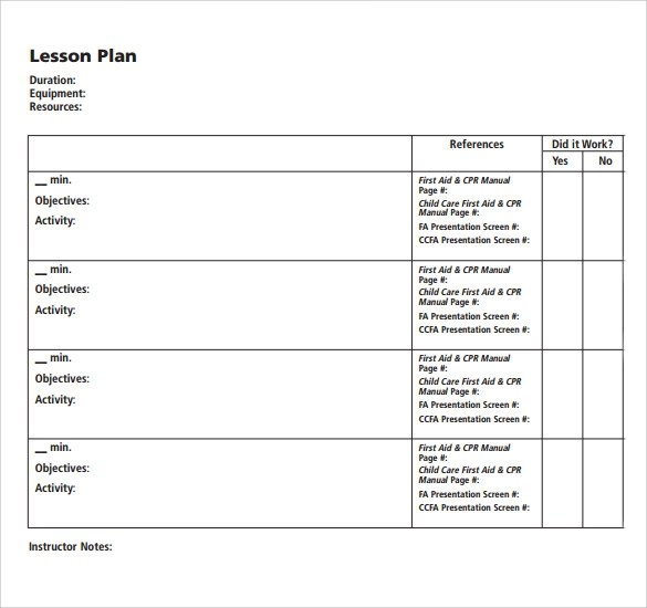 12 Blank Lesson Plan Templates \u2013 Samples, Examples  Format Sample - Blank Lesson Plan Template