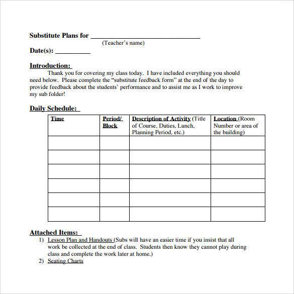 substitute teacher lesson plans template - Akbagreenw