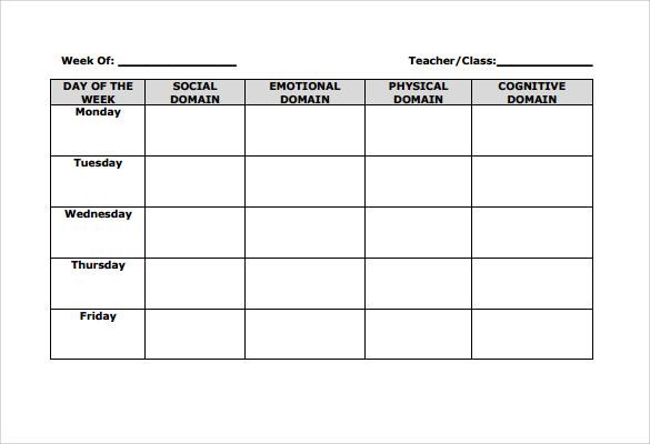 Blank Lesson Plan Template Emergent Curriculum Preschool Lesson