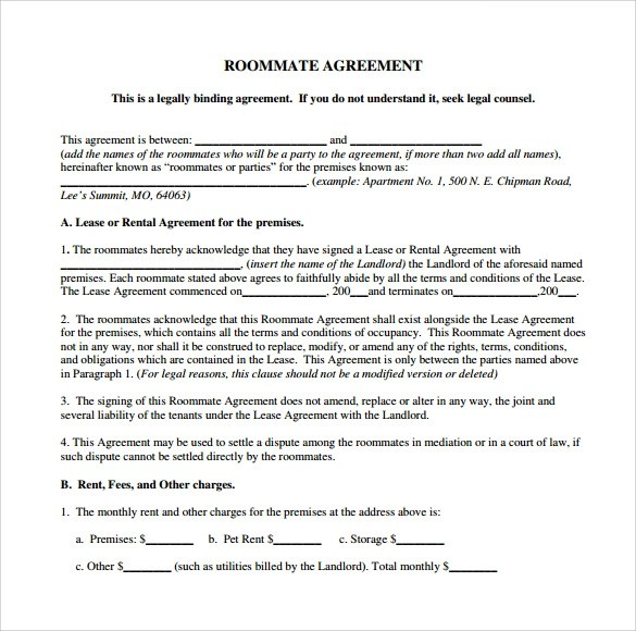 Sample Rental Agreement Roommate | Cover Letter Job Application Uk
