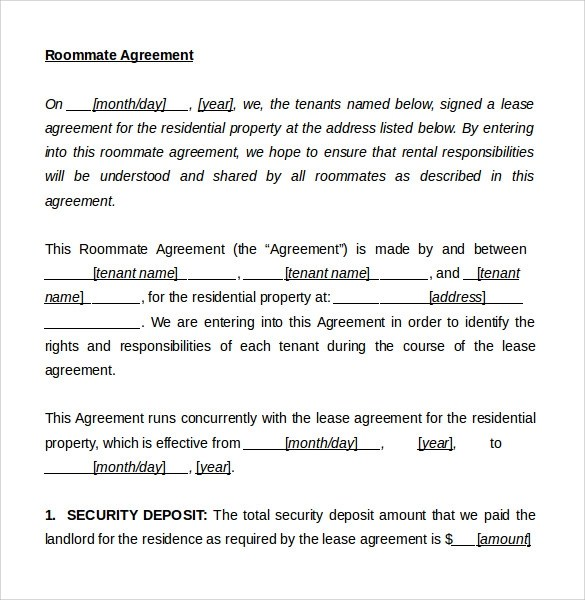 Rental Agreements With Roommates | Create Professional Resumes