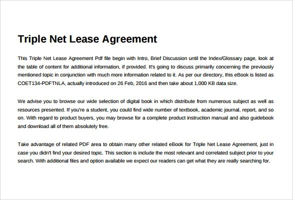 8+ Sample Net Lease Agreement Templates Sample Templates - triple net lease form