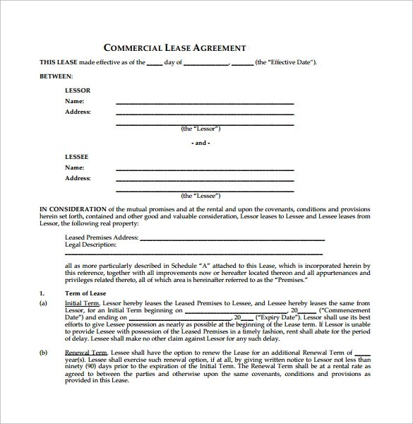 Commercial Triple Net Lease Agreement Template Free  Employment