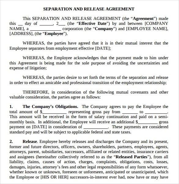Doc460595 Employment Release Agreement Separation and Release – Business Separation Agreement