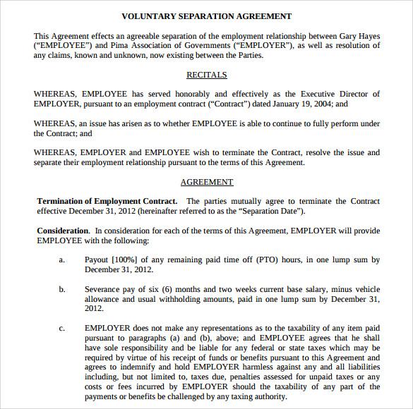 business separation agreement template - Art-student