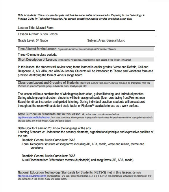 Sample Music Lesson Plan Template Free Sample Music Lesson Plan - sample music lesson plan template