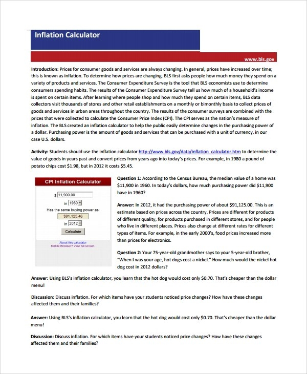 Sample Inflation calculator - 11+ Documents in Word, PDF