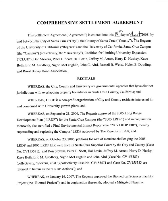 Sample Settlement Agreement - 15+ Documents In PDF, Word, Google