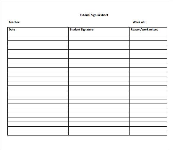 Sample School Sign in Sheet - 11+ Documents in PDF - sample school sign in sheet