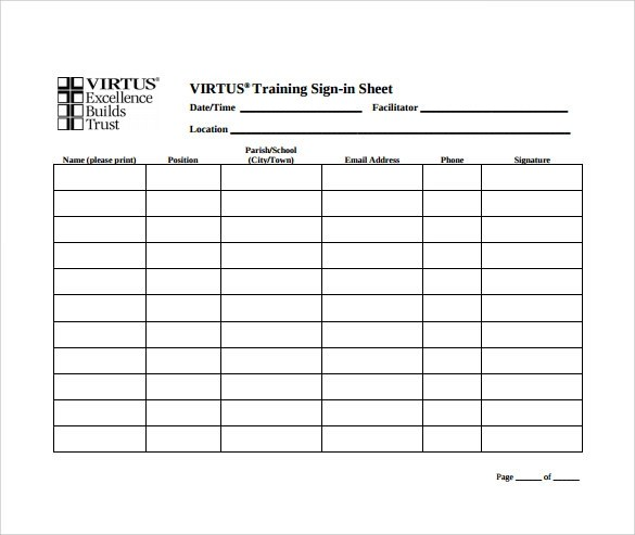 Sample Training Sign In Sheet  NodeCvresumePaasproviderCom