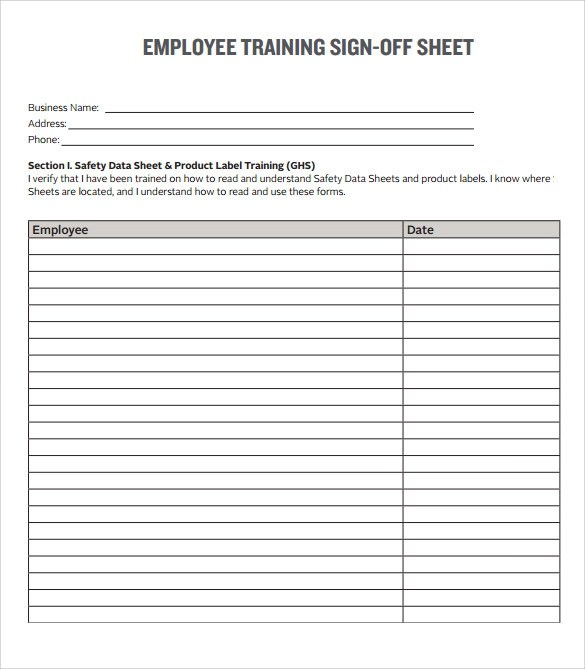 Sample Training Sign in Sheet - 15+ Documents in PDF