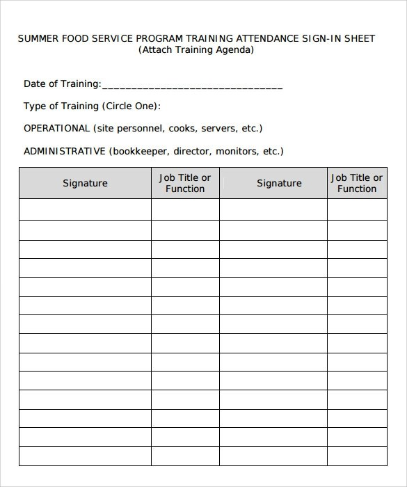 16+ Sample Training Sign in Sheets Sample Templates
