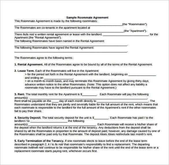 15 Roommate Rental Agreement Templates to Download Sample Templates