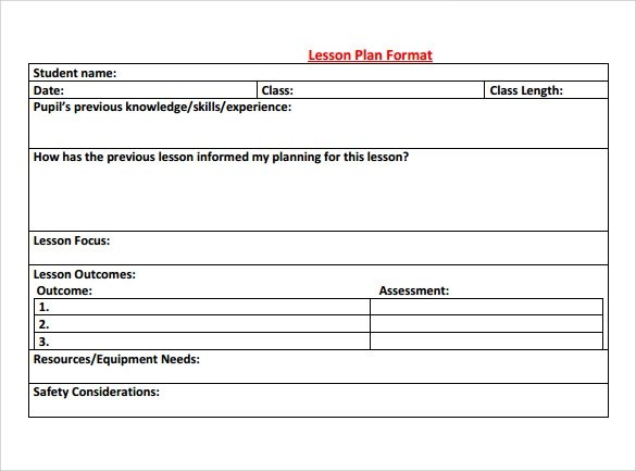 Special Education Lesson Plan Template Free Costumepartyrun