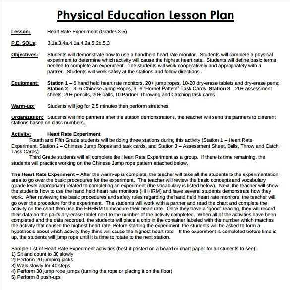 Physical Education Lesson Plan Template 8 Free Sample Example PE