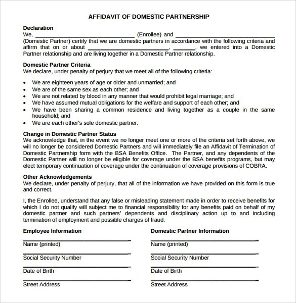 Sample Domestic Partnership Agreement - 11+ Free Documents in PDF - partnership agreement free template