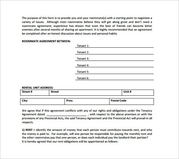 Roommate Agreement Form Sample Sublease Agreement Form Template - roommate agreement form
