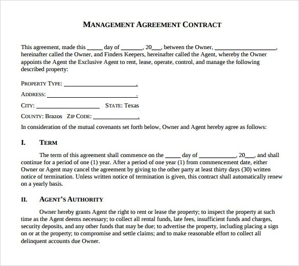 Contract Management Agreement Management Agreement Contract - music agreement contract