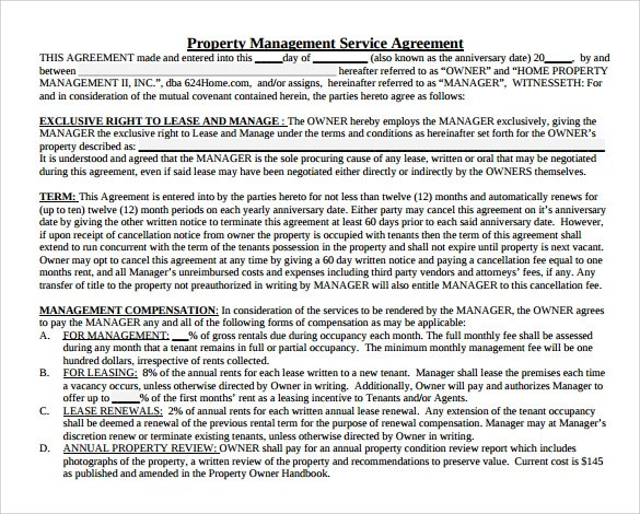 Property Management Agreement Template Free - Costumepartyrun