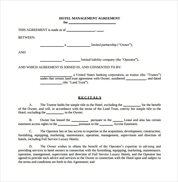 12 Management Agreements to Download Sample Templates - management agreements