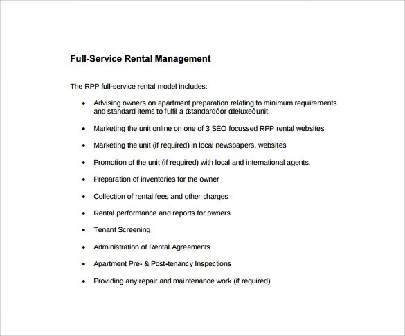 Sample Rental Management Template - 9+ Free Documents in PDF - rental management template