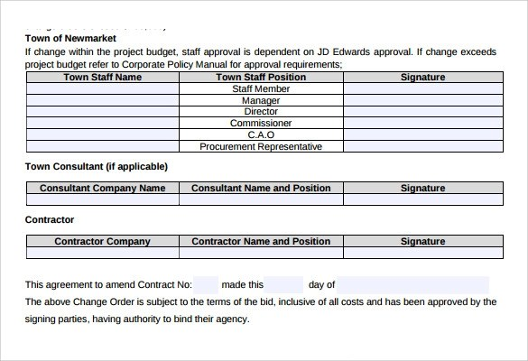 construction change order template word - Intoanysearch - construction change order form