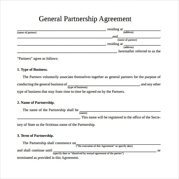 Sample General Partnership Agreement - 11+ Documents in PDF, Word - business partner agreement