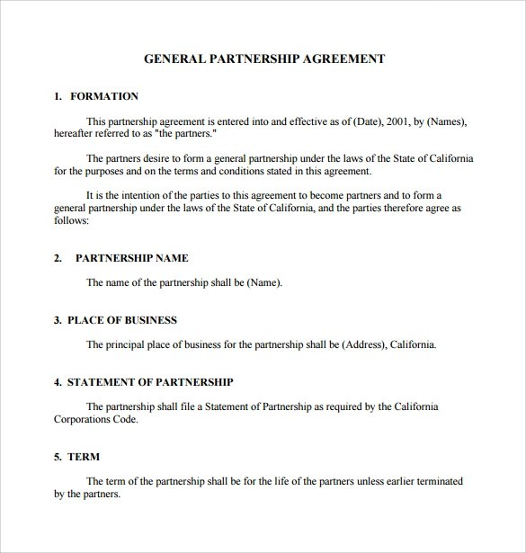 General Partnership Agreement Business General Partnership - partnership agreement
