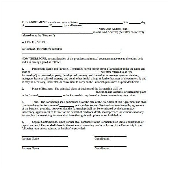 12+ Sample General Partnership Agreement Templates Sample Templates - partnership agreement format