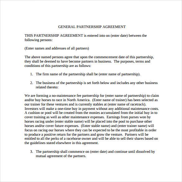 partnership business agreement sample