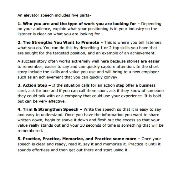 Sample Elevator Pitch Template - 11+ Free Documents in PDF , Word