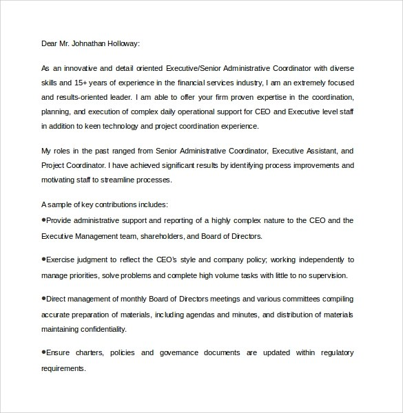 Cover letter for executive assistant to ceo – Executive Assistant Cover Letter