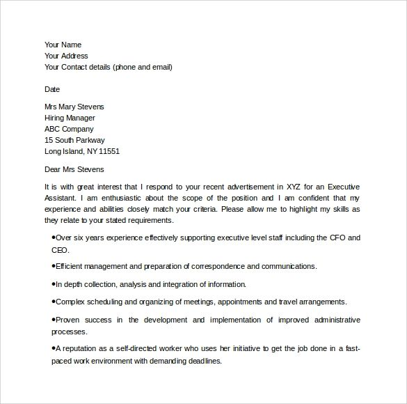 cover letter examples for executive assistant